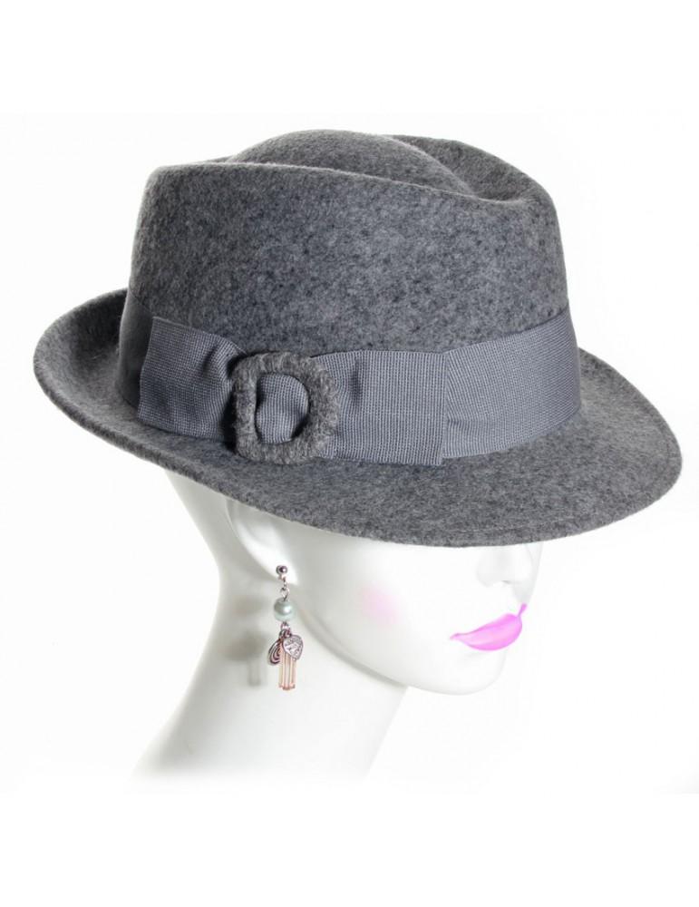 chapeau feutre femme gris