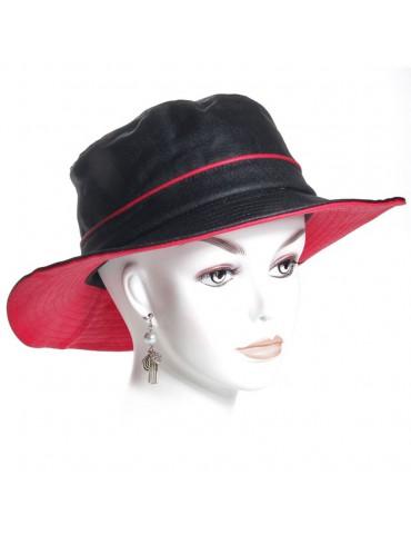 chapeau de pluie lin noir et rouge