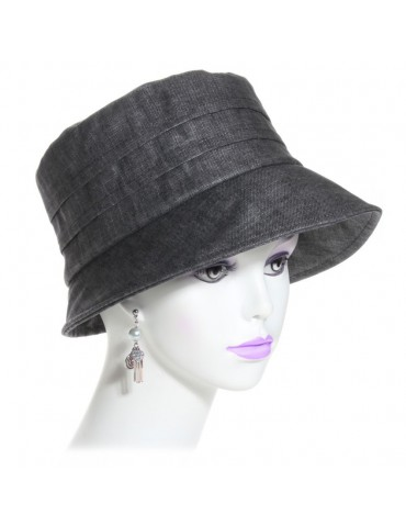 chapeau de pluie en lin gris anthracite