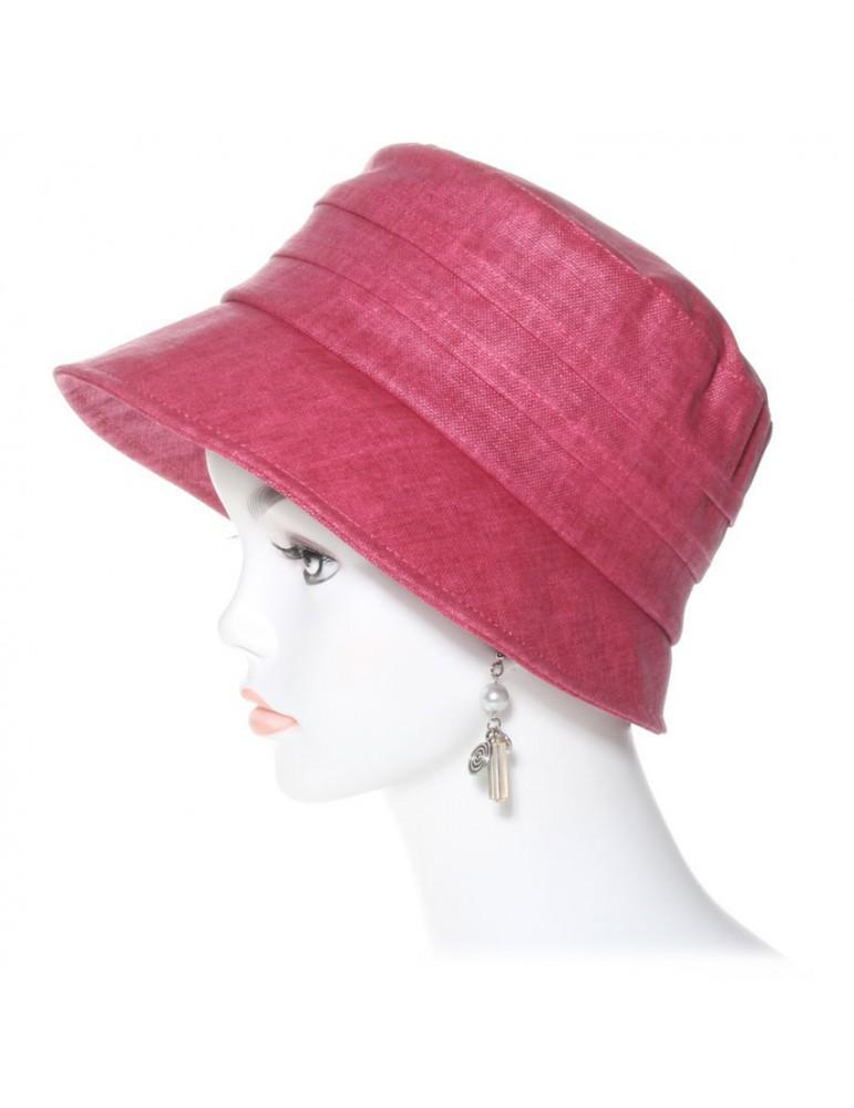 chapeau de pluie en lin coloris framboise