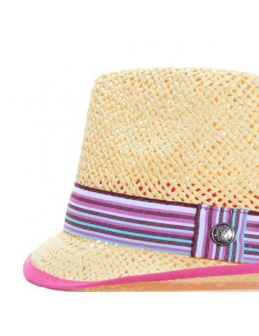 chapeau de paille gros grain multicolore
