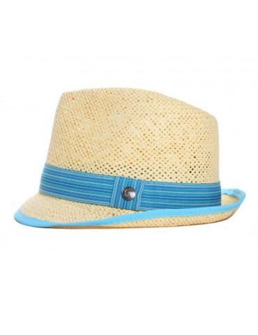chapeau paille enfant gros grain bleu