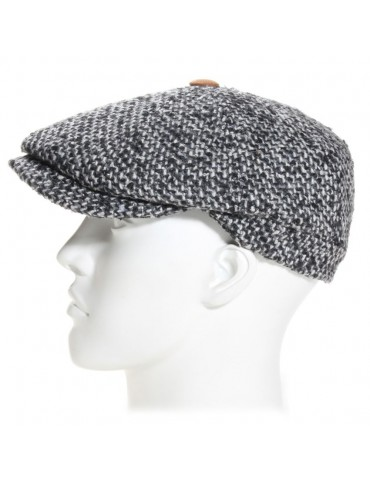 casquette gavroche laine tweed gris