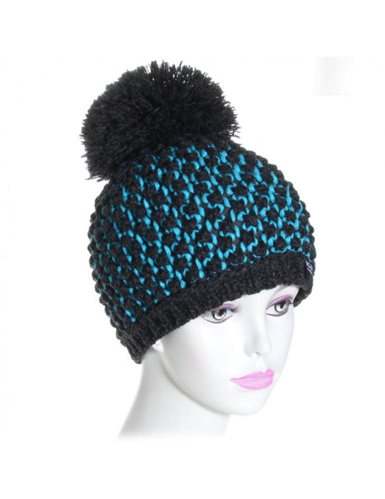 bonnet pompon noir et turquoise