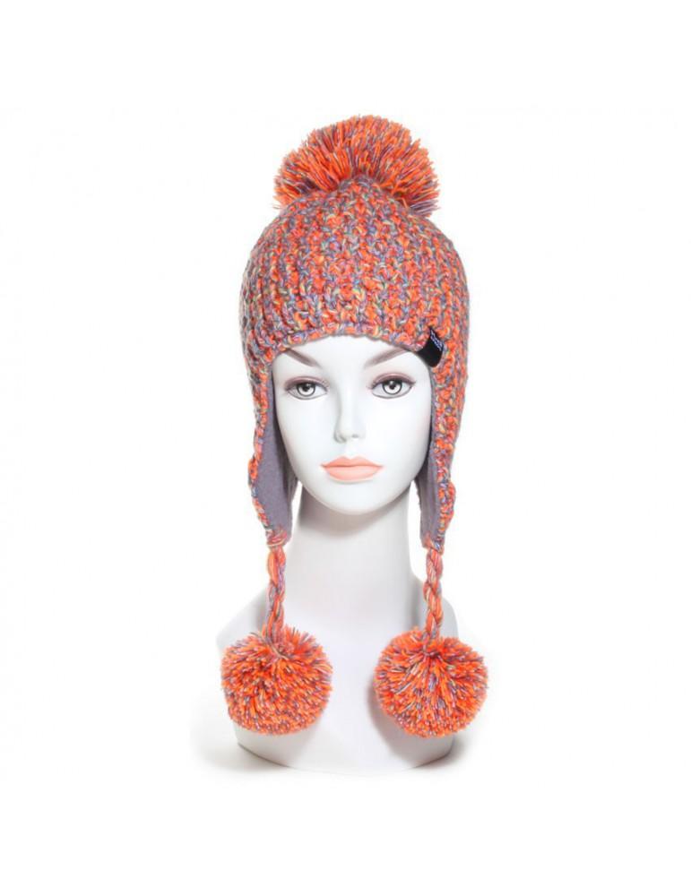 bonnet péruvien laine orange multicolore