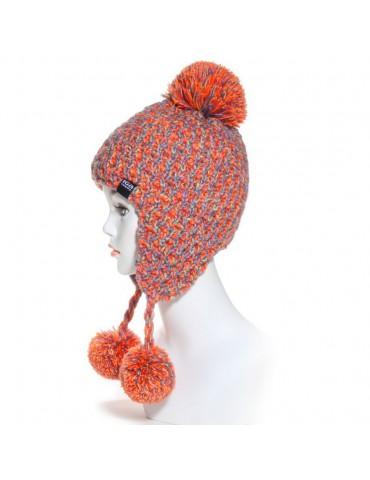 bonnet péruvien pompon orange