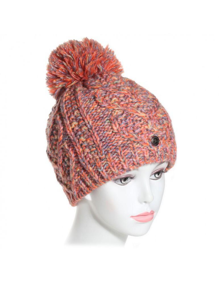 bonnet pompon orange muticolore