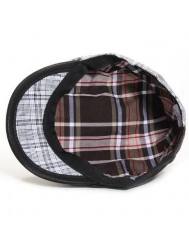 casquette cuir et coton coloris noir doublée coton imprimé
