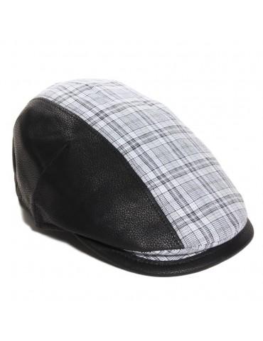 casquette cuir et coton coloris noir visière gansée