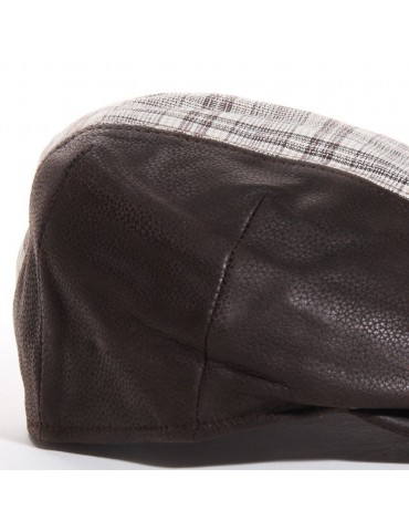 casquette cuir et coton marron