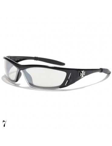lunette de soleil lentille miroir vision noir monture noir brillant