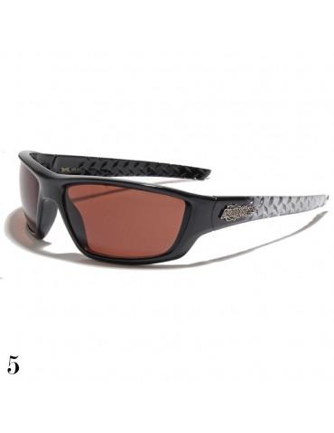 lunette de soleil monture grise et vision marron