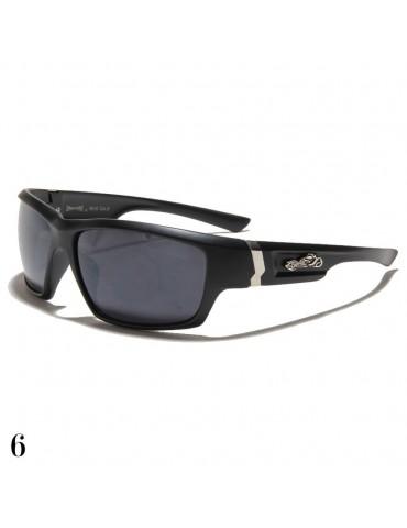 lunette de soleil monture noir et logo moto