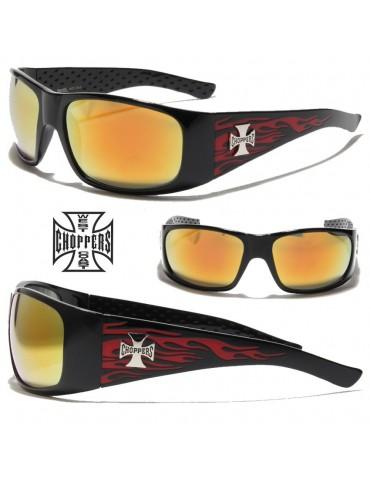 lunettes de soleil avec flamme et logo croix de Malte
