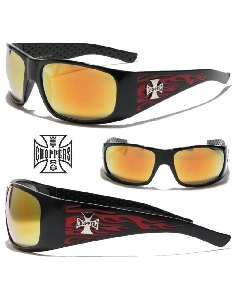 lunette de soleil marque choppers logo a flammes verre gris noir bande orange homme biker