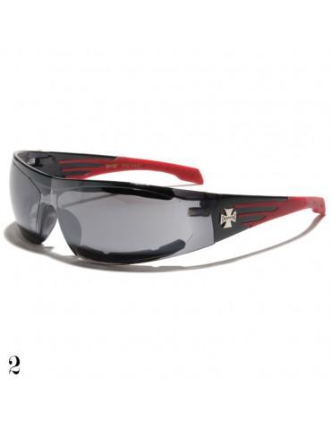 lunette de soleil monture noir et rouge