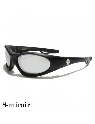 lunette de soleil verre miroir vision grise monture noir mat