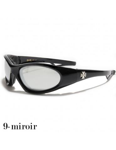 lunette de soleil verre miroir vision grise monture noir brillant
