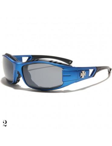 lunette de soleil vision grise monture bleu
