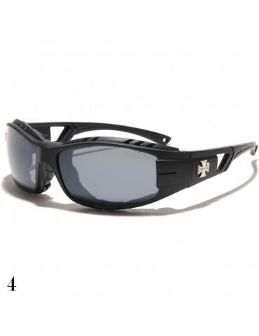 lunette de soleil vision grise noir mat avec logo croix de Malte