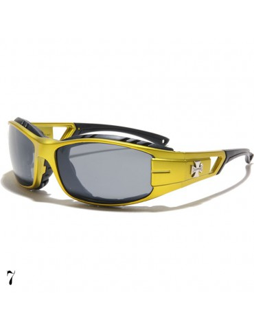 lunette de soleil vision grise monture jaune et logo croix de Malte
