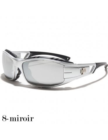 lunette de soleil verre miroir vision grise monture argent