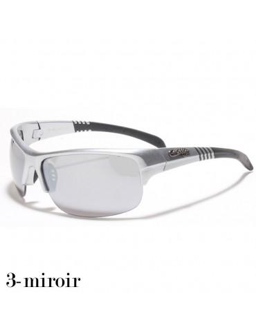 lunette de soleil verre miroir et monture grise