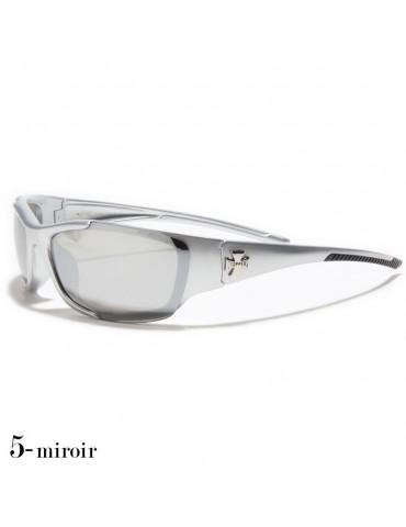 lunettes de soleil monture grise verres miroirs