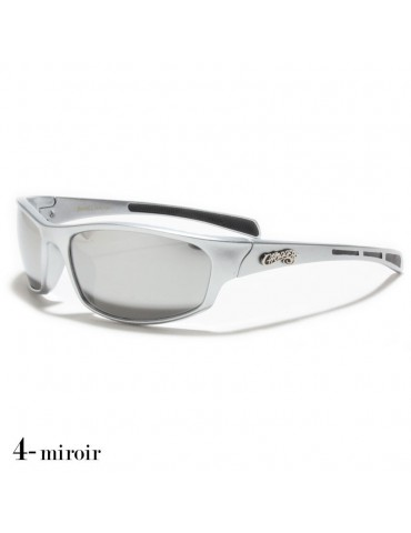 lunettes de soleil monture grise et verres miroirs