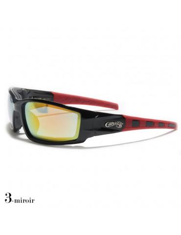lunettes de soleil monture noir et rouge