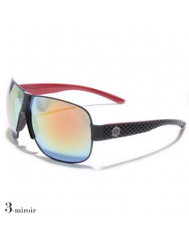 lunettes de soleil lentilles miroirs colorés vision bleu monture noir et rouge