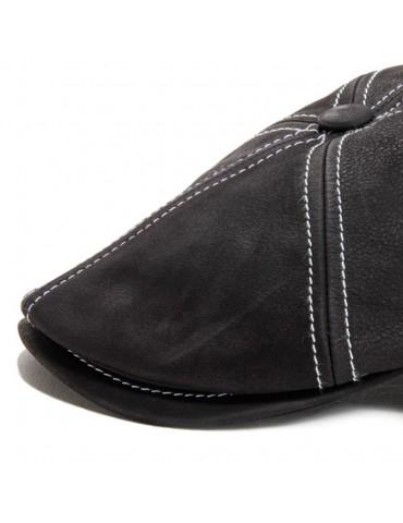 Casquette cuir nappa noir surpiqué