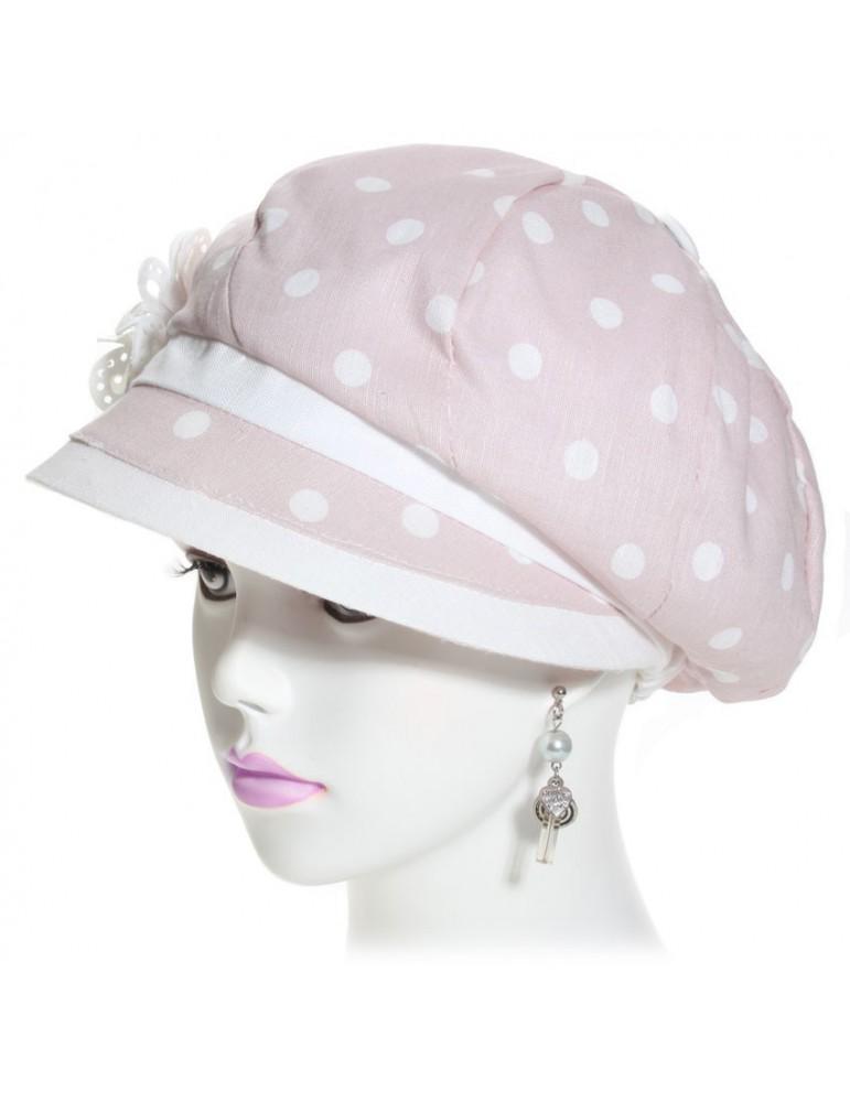 casquette gavroche pour femme en lin coloris rose