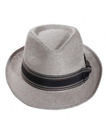 Chapeau paille grise ajourée