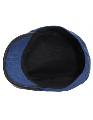 Casquette homme lin bleu marine doublée coton
