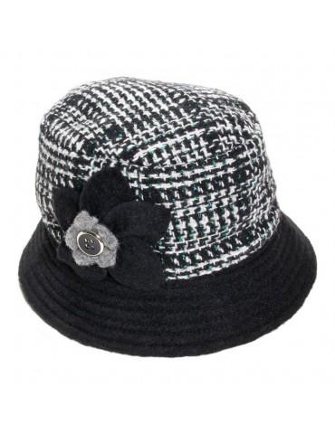 chapeau femme laine noir et blanc