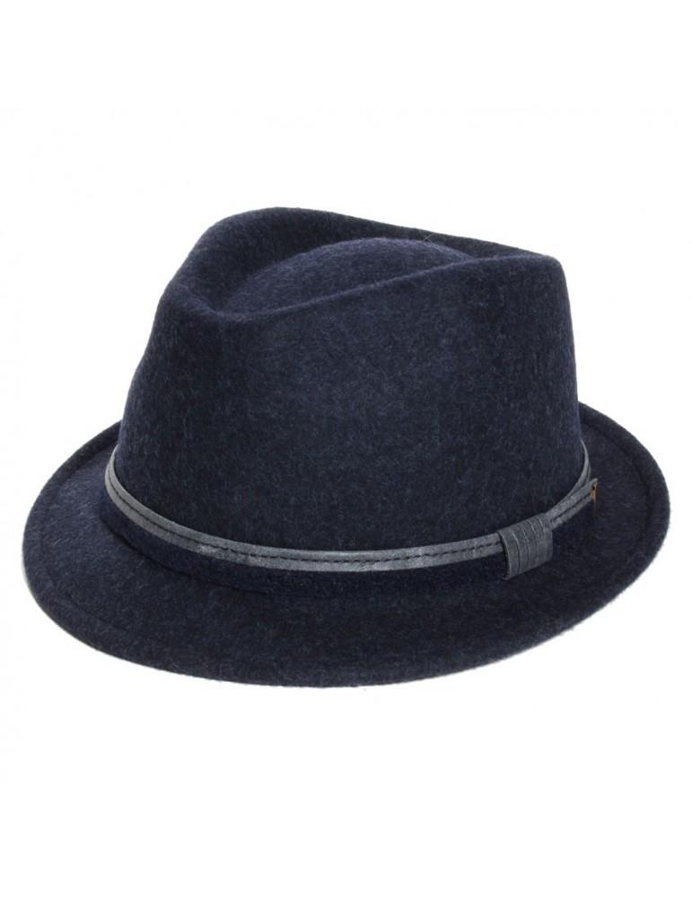 chapeau feutre trilby bleu marine