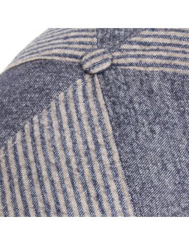 casquette laine et coton bleu jeans avec bouton