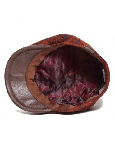 casquette laine Harris Tweed coloris brique doublée polyester