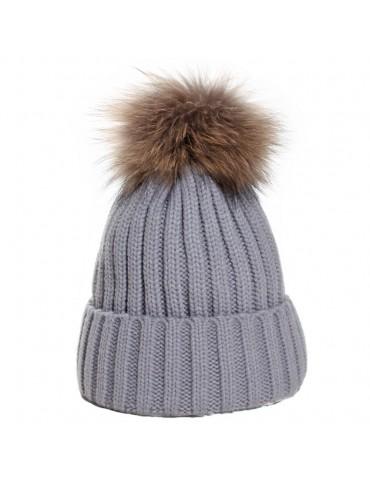 Bonnet pompon Raccoon gris