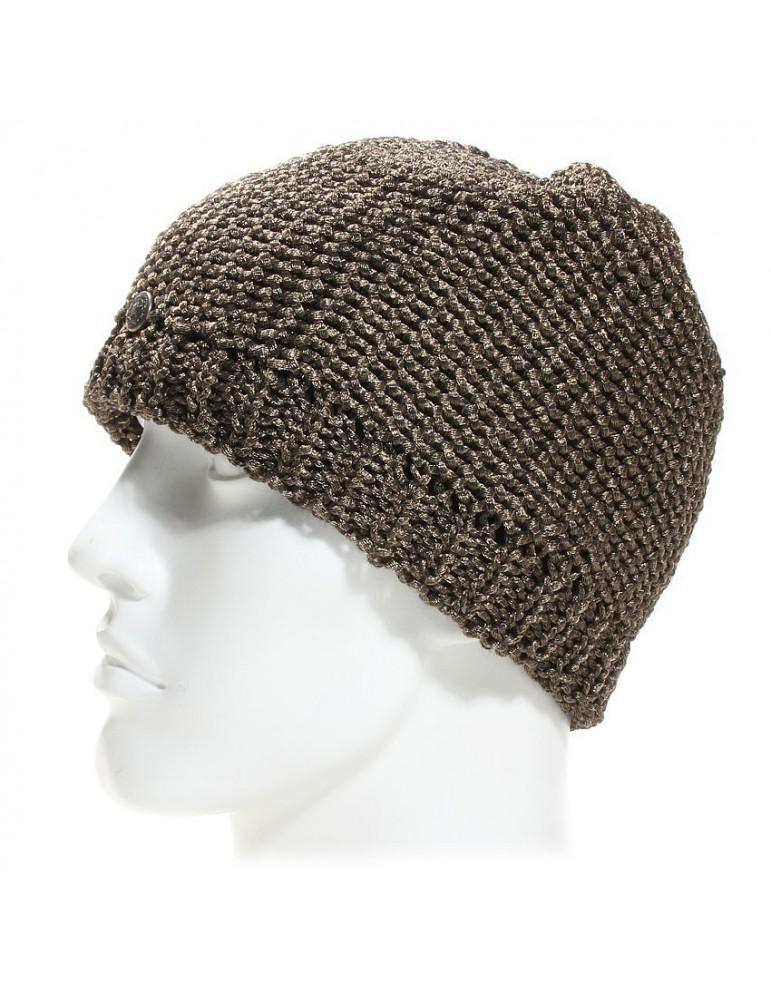 bonnet maille laine imitation métal cuivré