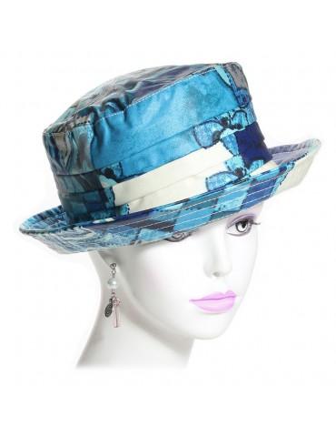 chapeau de pluie coton imprimé bleu