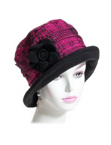 chapeau laine et polaire fushia et noir