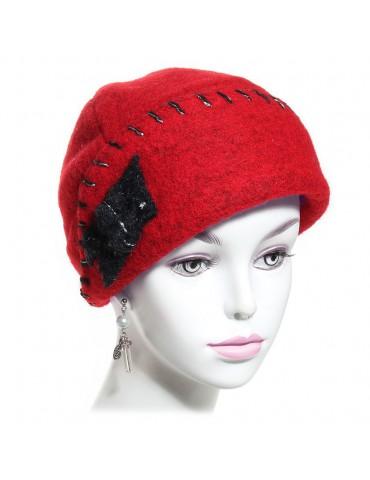chapeau femme laine rouge