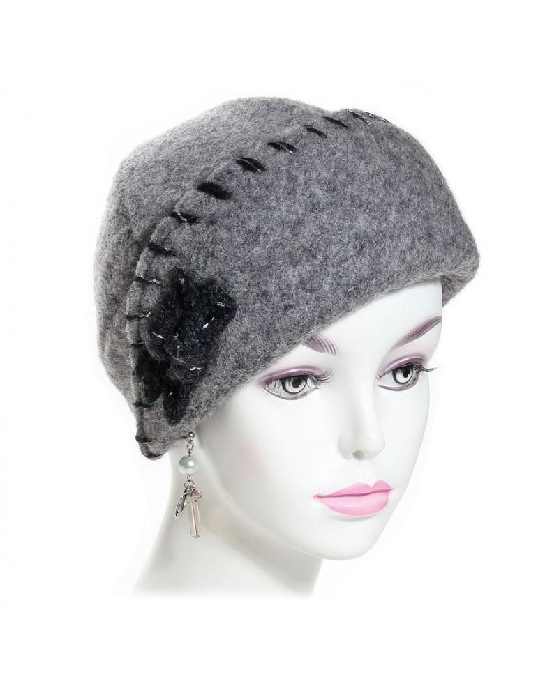 chapeau femme laine grise
