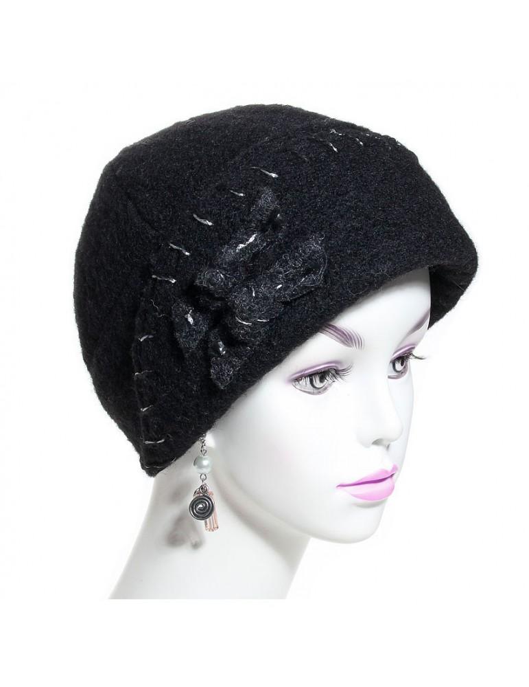 Chapeau femme laine noir