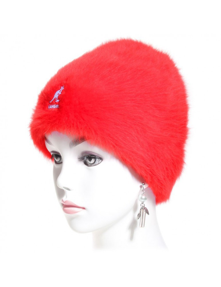bonnet angora rouge de chez Kangol