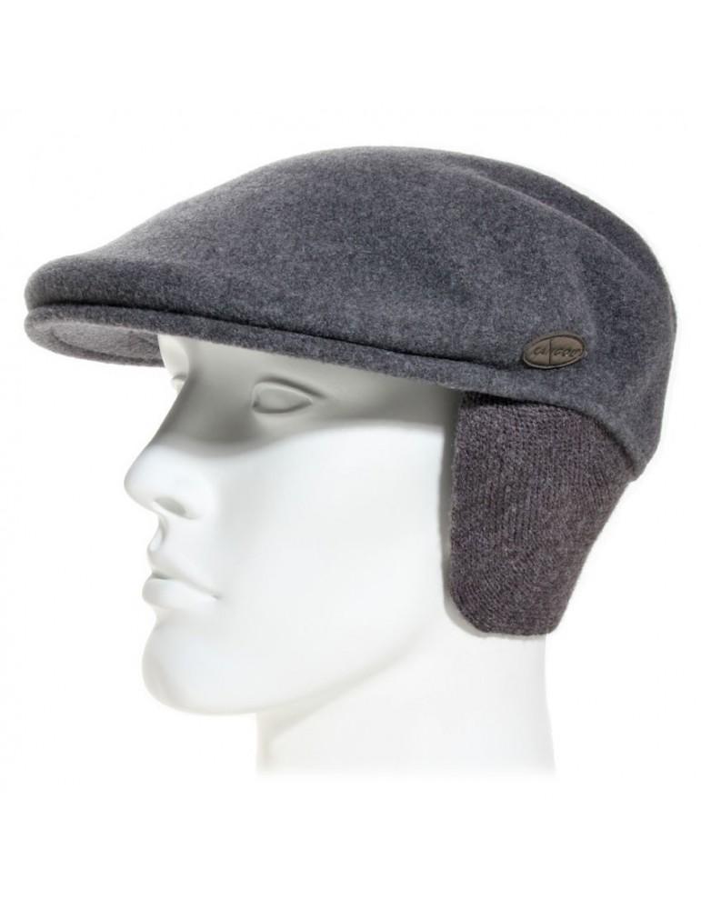 casquette plate avec cache oreilles coloris grise