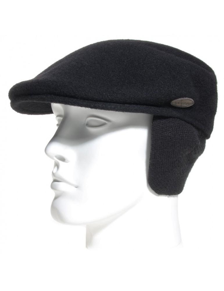 casquette plate avec cache oreilles coloris noir