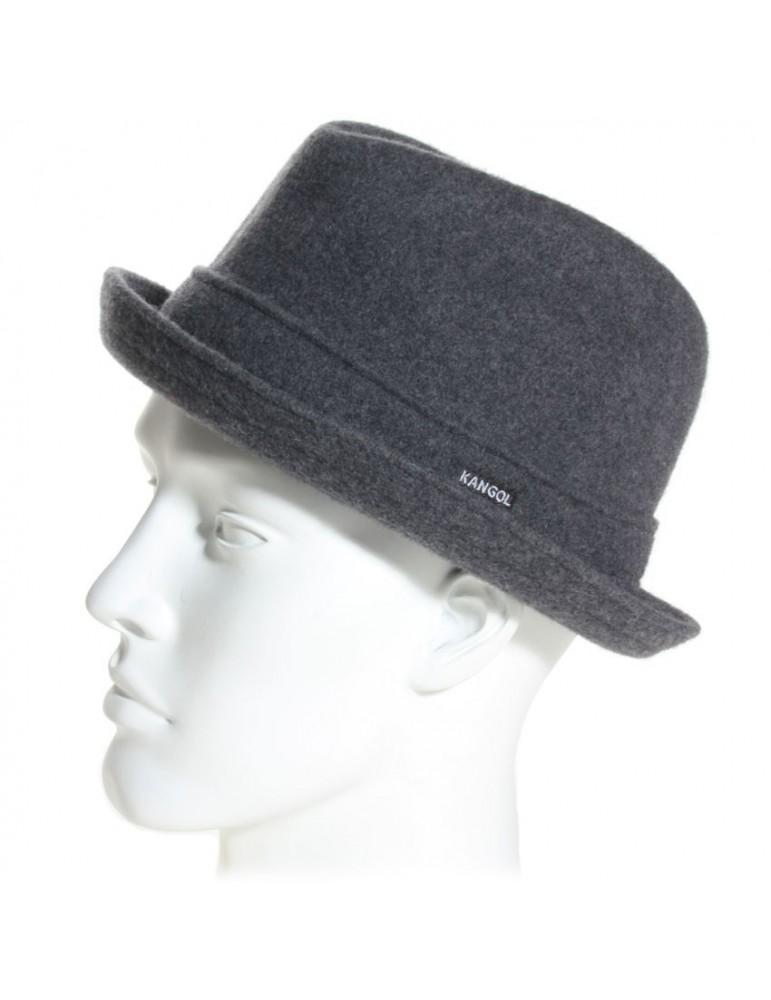 chapeau feutre pork pie gris
